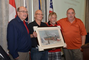 IAM Canadian office presented this print to IAM District Lodge 78 and Local Lodge 103 on the 125th anniversary of the IAM in Canada. IAM International President Tom Buffenbarger, IAM Local Lodge 103 President Glenn Annett, Local Lodge 103 Secretary Treasurer Rob Elliott and IAM Canadian GVP Dave Ritchie